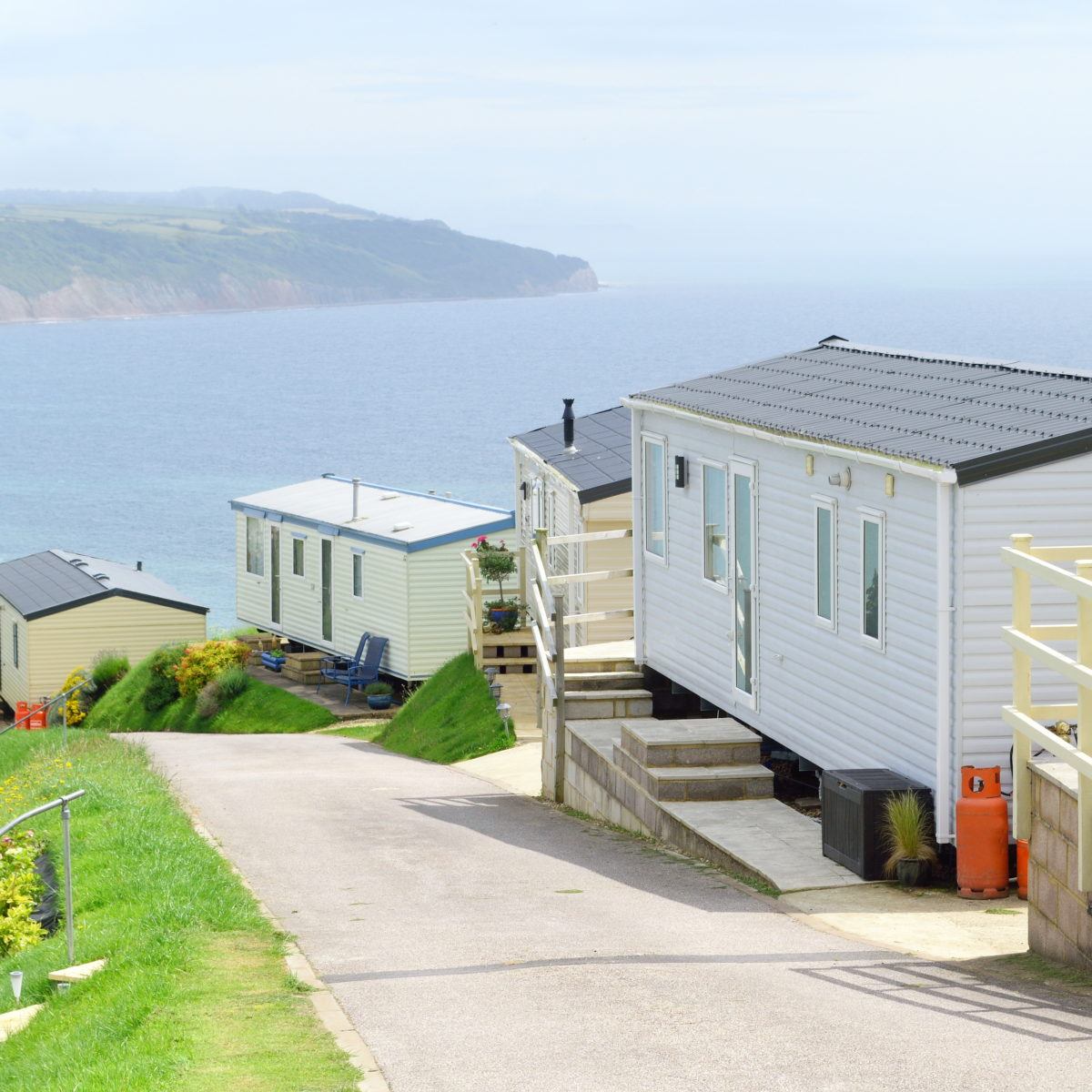 Caravan Park near village Beer in Devon, England