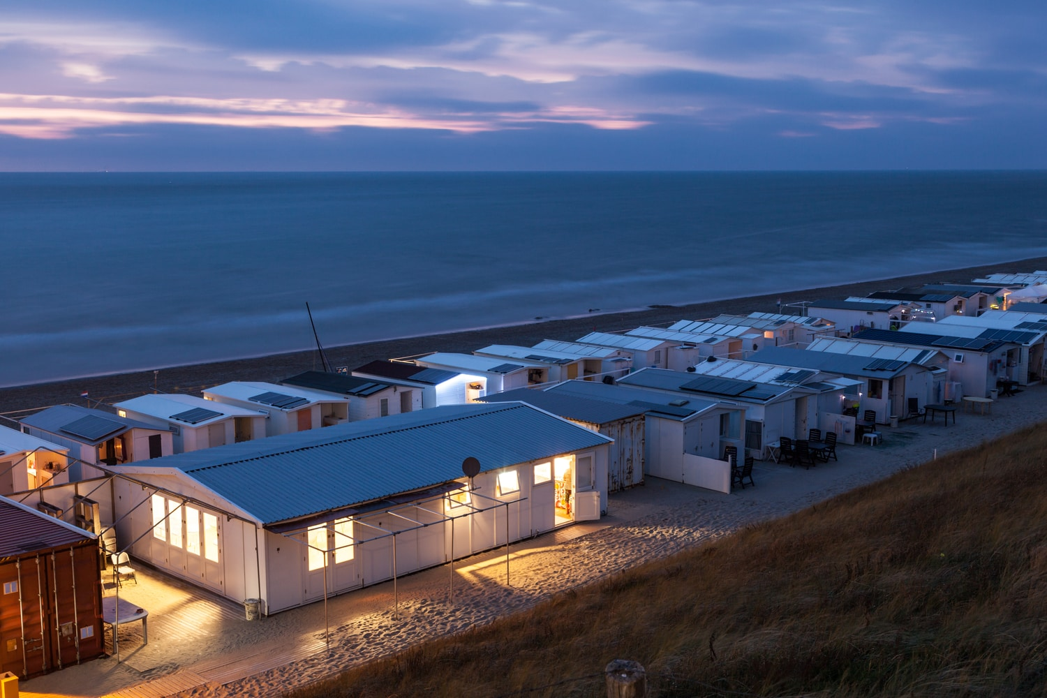 Holiday park with static caravans at night time